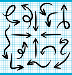 set doodle arrows on paper background vector image