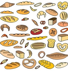 Set doodles bread vector