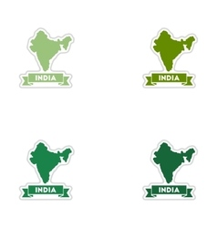 Set of paper stickers on white background India vector image