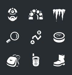 Set of underground explorer icons vector