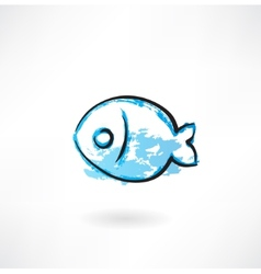 Simple fish grunge icon vector