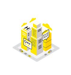 smart city data infrastructure server isometric vector image