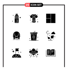 Solid glyph pack 9 universal symbols food vector