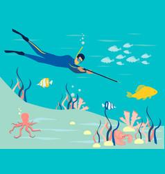 spearfishin underwater hunting in minimalist vector image