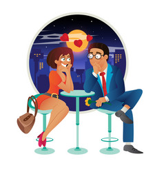 Speed dating romantic love event in cafe - young vector