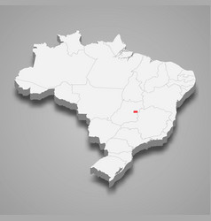 State location within brazil 3d map vector