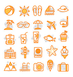 summer line icons vector image