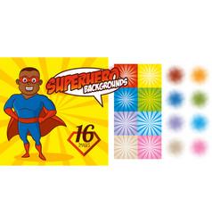 superhero background set super hero character vector image