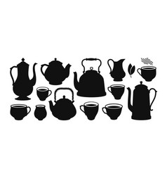Tea set silhouette kettle teapot cup creamer vector