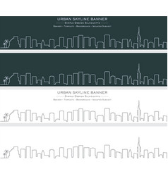 tel aviv single line skyline banner vector image