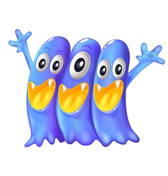 Three playful blue monsters vector image