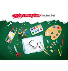 top view artist workplace set vector image
