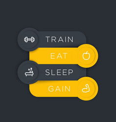 Train eat sleep gain labels with fitness icons vector