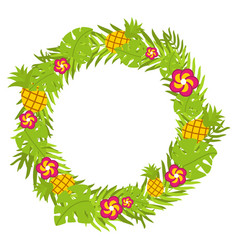 tropical floral circle with pineapple and red vector image