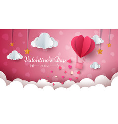 Valentine s day air balloon cloud vector