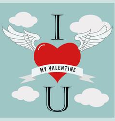 valentine39s day flying heart love design vector image
