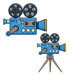 vintage movie camera in flat style isolated on vector image
