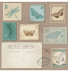Vintage postcard and postage stamps with butterfly vector