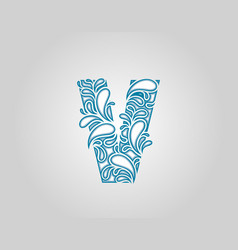 Water splash initial v letter logo icon vector