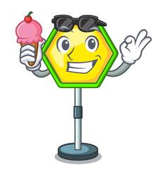 With ice cream cartoon traffic sign on traffic vector