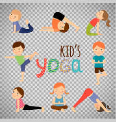 Yoga kids set on transparent background vector