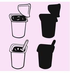 Yogurt cup silhouette vector