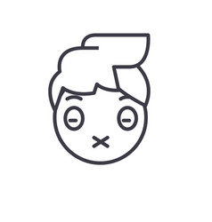 zipped mouth emoji concept line editable vector image