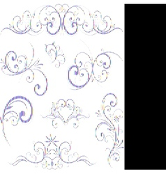 blue swirling flourishes floral elements vector image vector image