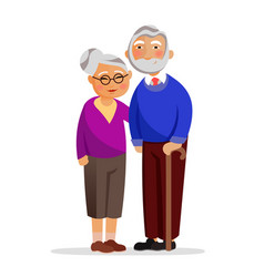 happy granny and grandpa standing together and vector image