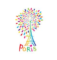 paris sign french famous landmark eiffel tower vector image vector image