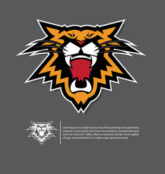angry tiger face logo in flat design vector image