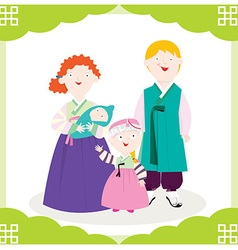 Family Hanbok vector image vector image