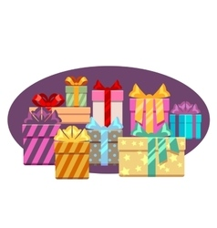 Heap of gift boxes with ribbon bows isolated over vector image