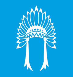 indian headdress icon white vector image vector image