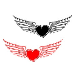 retro heart tattoo vector image vector image