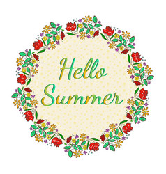 beautiful floral card with hello summer text vector image