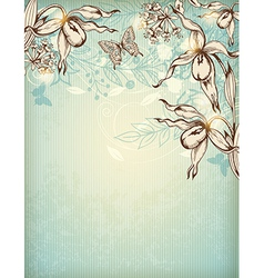 Decorative hand drawn floral background vector image vector image