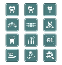 Dental icons - TEAL series vector image vector image