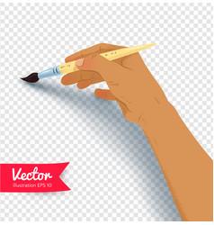 female hand painting with brush vector image