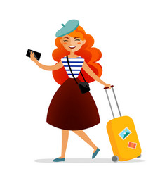 girl traveler with a suitcase bag and phone with vector image vector image
