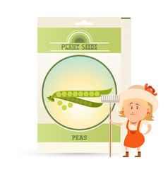 Pack of peas seeds icon vector