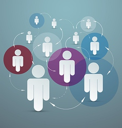 Paper People in Circles - Social Media Connection vector image vector image