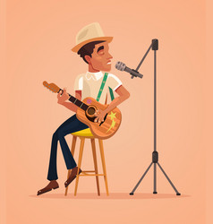 singer man character sing song and play guitar vector image