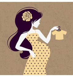 Vintage silhouette of pregnant woman vector image vector image