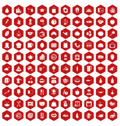 100 cooking icons hexagon red vector
