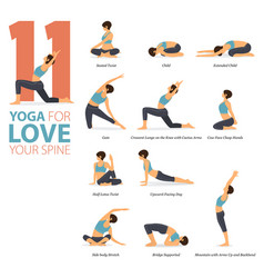 11 yoga poses for love your spine concept vector image