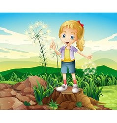A stump with a young girl standing vector