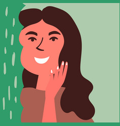 A tanned girl stands behind aloe vera and touches vector