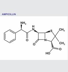 ampicillin structural formula vector image