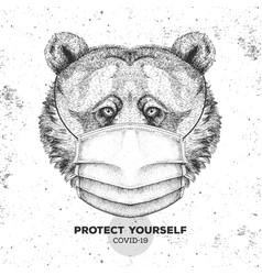 Animal bear wearing face medical mask covid-19 vector